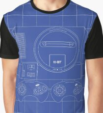 Megadrive Outline single (blue) Graphic T-Shirt