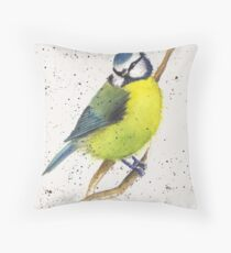 Country Blue Tit Throw Pillow