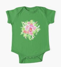 Flowers Bouquet in Watercolor Painting One Piece - Short Sleeve