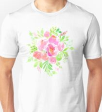 Flowers Bouquet in Watercolor Painting Unisex T-Shirt