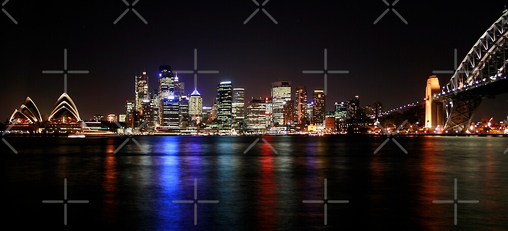 Sydney Harbour skyline at night. by Victoria Ashman