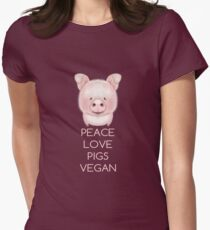 PEACE LOVE PIGS VEGAN Womens Fitted T-Shirt