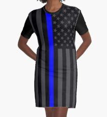 The Symbolic Thin Blue Line on American Flag Graphic T-Shirt Dress