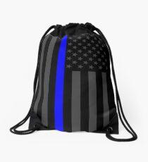 Die symbolische dünne blaue Linie auf amerikanischer Flagge Rucksackbeutel