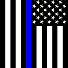 The Symbolic Thin Blue Line on US Flag by Garaga