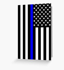 The Symbolic Thin Blue Line on US Flag Greeting Card