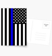Die symbolische dünne blaue Linie auf US-Flagge Postkarten