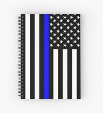 The Symbolic Thin Blue Line on US Flag Spiral Notebook