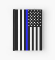 The Symbolic Thin Blue Line on US Flag Hardcover Journal