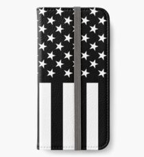 The Symbolic Thin Blue Line on US Flag iPhone Wallet/Case/Skin