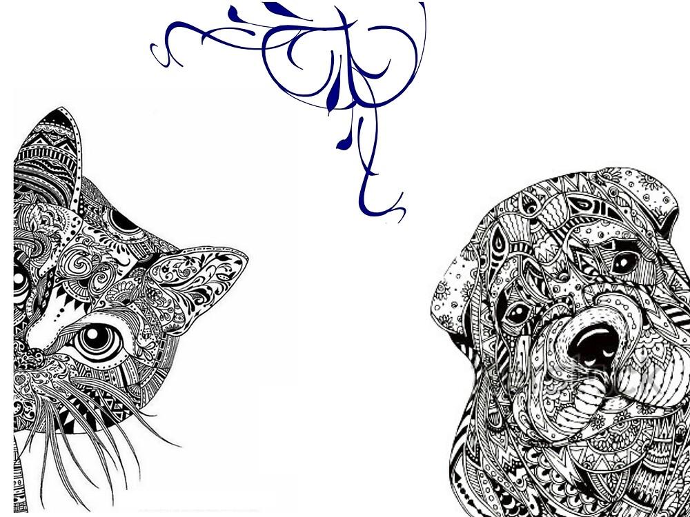 Mandala-Katze und Hund mit blauem Strudel\