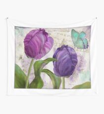 Purple Parrot Tulips Wall Tapestry