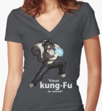 Kung-Fu Women's Fitted V-Neck T-Shirt