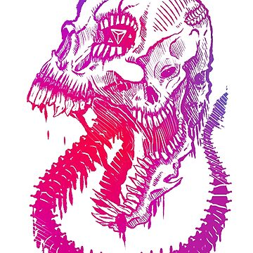 Skull of a Marked Pink Beast by DeemeeArt