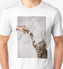 When Adam created the domesticated cat. Unisex T-Shirt
