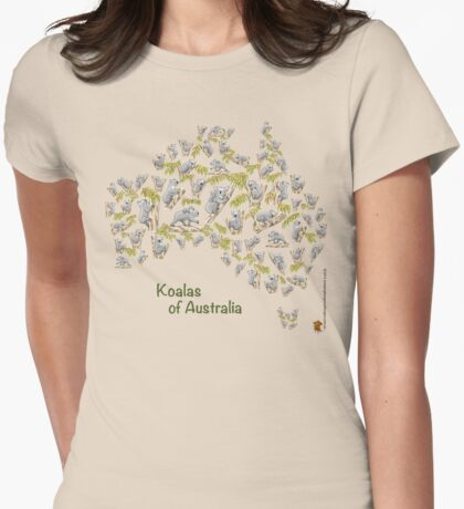 Cute Koalas Australia Map T-Shirt