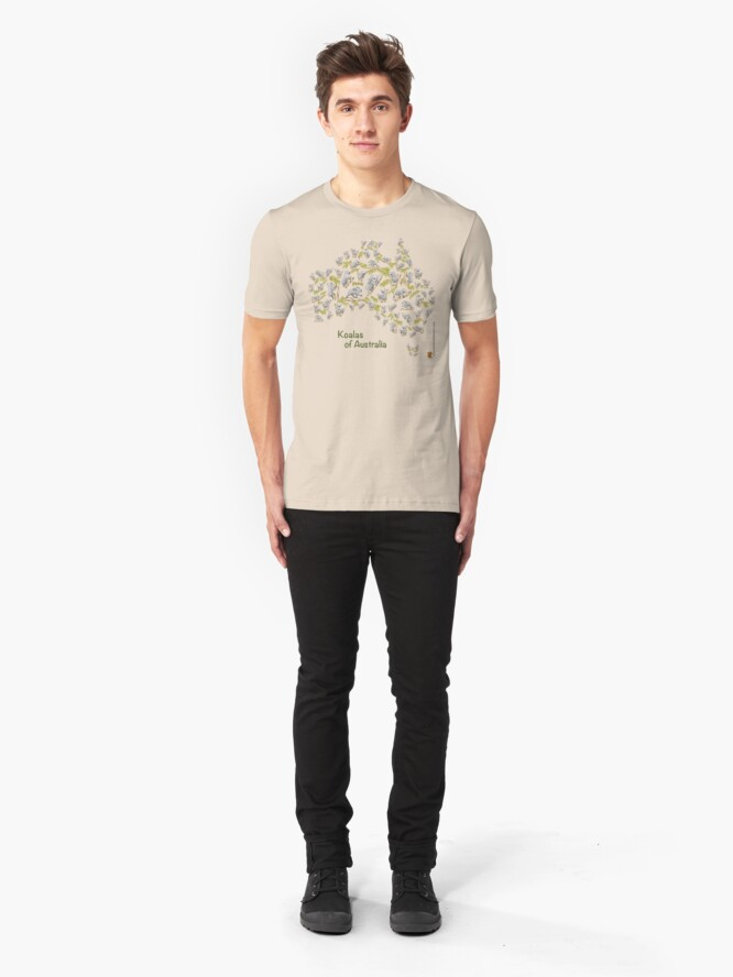 Alternate view of Cute Koalas Australia Map Slim Fit T-Shirt