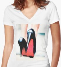 Luxury Fashion High Heels Women's Fitted V-Neck T-Shirt