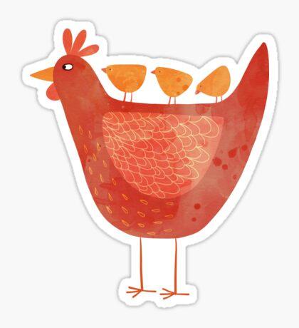 Hen and Chicks Sticker