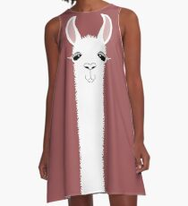 MARSALA LLAMA PORTRAIT A-Line Dress