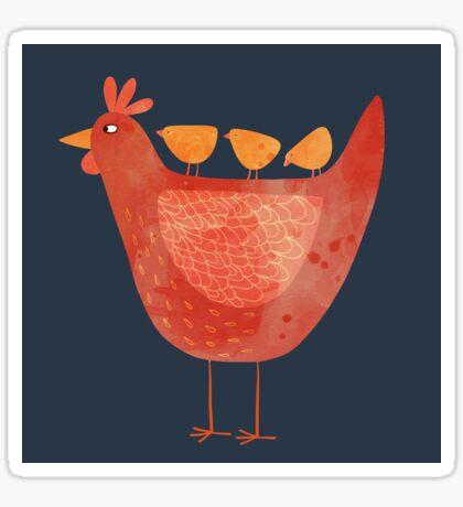 Hen and Chicks on Blue Sticker