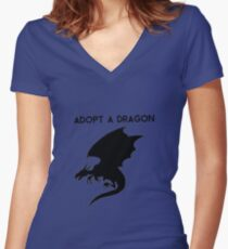 Adopt a Dragon Women's Fitted V-Neck T-Shirt