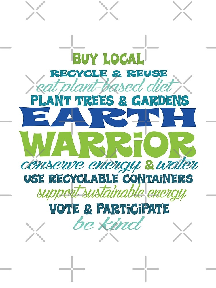 Earth Warrior - Word Bubble - Green and Blue by jitterfly