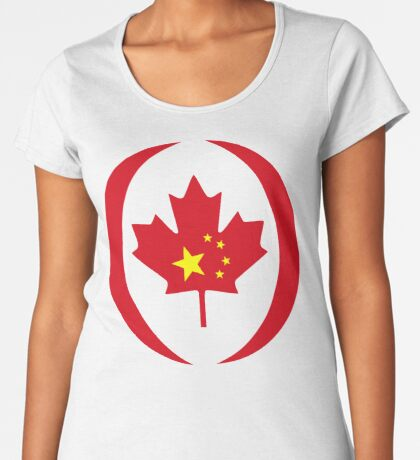 Chinese Canadian Multinational Patriot Flag Series Premium Scoop T-Shirt