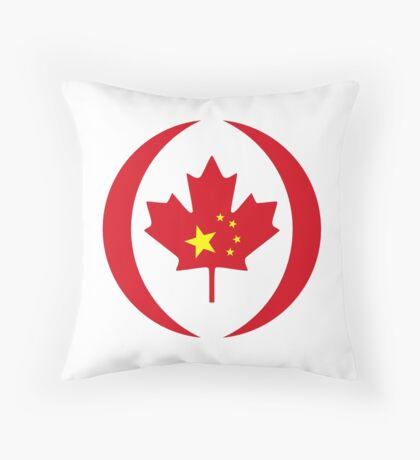 Chinese Canadian Multinational Patriot Flag Series Throw Pillow