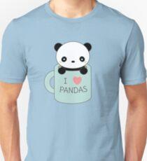 Kawaii Cute I Love Pandas  T-Shirt