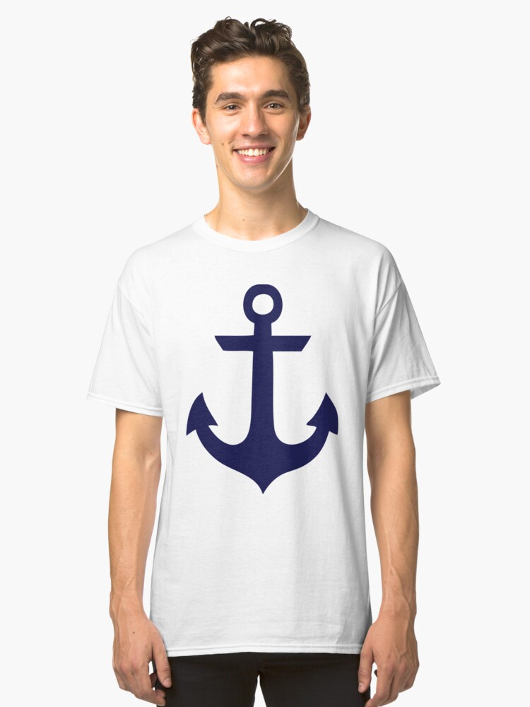 Cute Blue Anchors Pattern Classic T-Shirt Front
