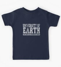 University of Earth - We are all students here - white text Kids Tee