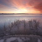 Sunset at the frozen lake by Remo Savisaar