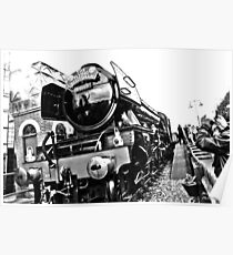 Flying Scotsman at Bluebell Railway (B&W) Poster