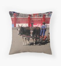 A Lady and Her Mules Throw Pillow
