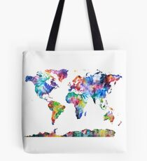 Watercolor World map Tote Bag