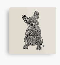Lienzo metálico Bulldog francés polinesio