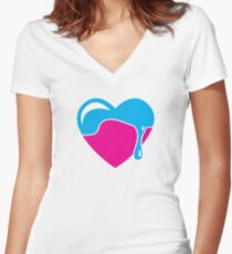 Love heart dripping cute! Women's Fitted V-Neck T-Shirt