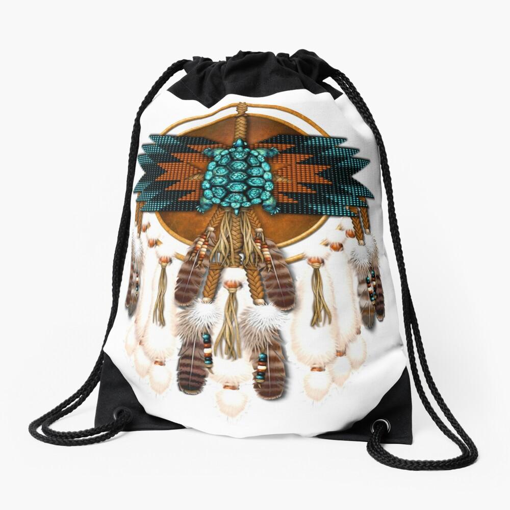 Turquoise Turtle Mandala Drawstring Bag