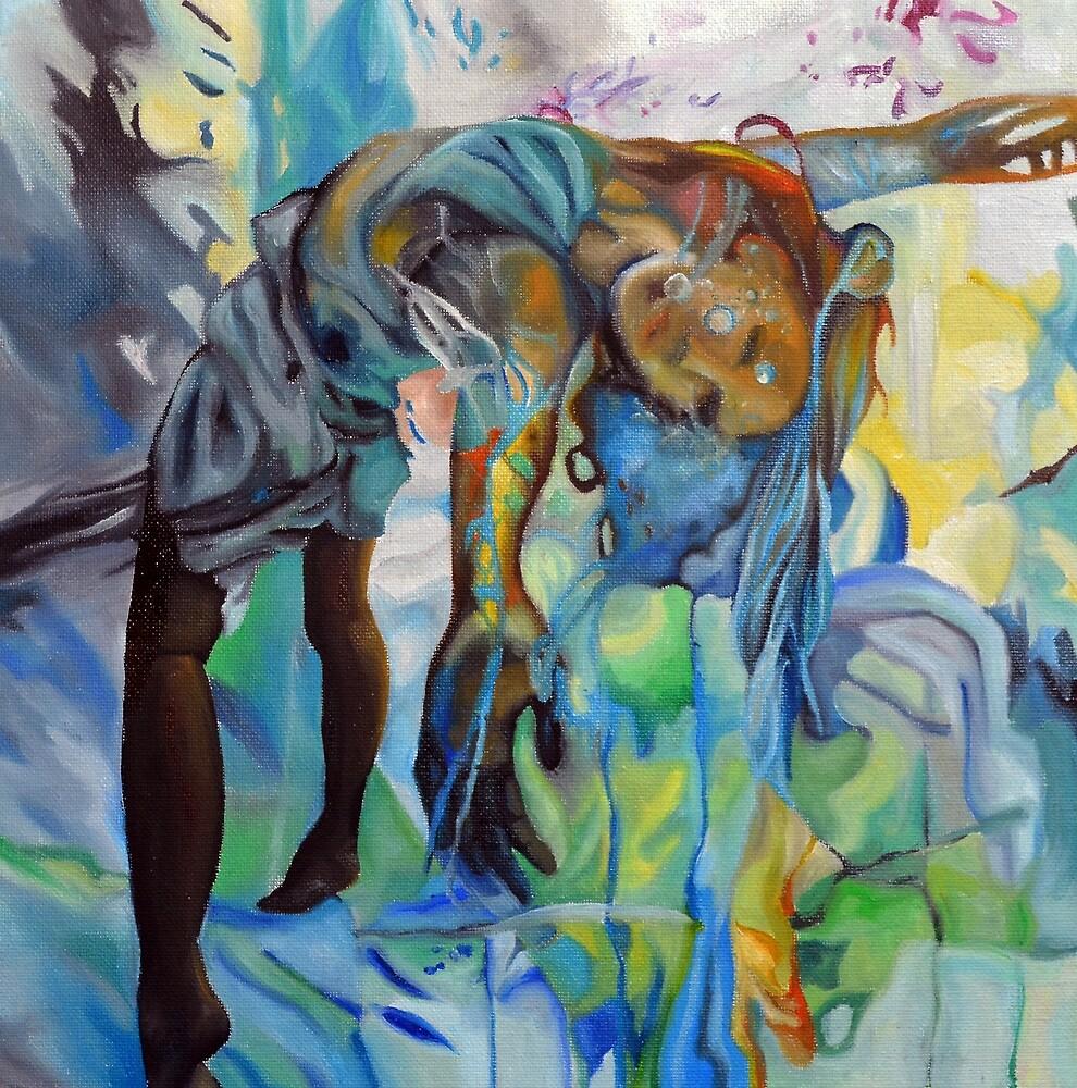 I've been way down, 30-30cm, 2017, oil on canvas by oanaunciuleanu