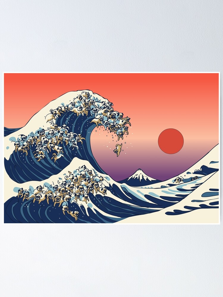 Alternate view of The Great Wave of Pug Poster