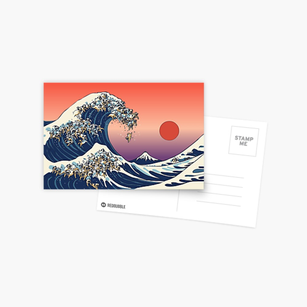 The Great Wave of Pug Postcard