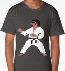 Karate Kung-Fu Black Belt Pixel Figure Design Long T-Shirt