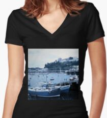 Landscapes: Torquay Harbour Women's Fitted V-Neck T-Shirt
