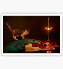 Nocturne for violin a cat in the light of an old florence oil lamp Sticker