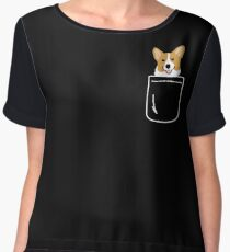 Corgi In Pocket Funny Cute Puppy Big Happy Smile Women's Chiffon Top