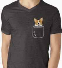 Corgi In Pocket Funny Cute Puppy Big Happy Smile Men's V-Neck T-Shirt