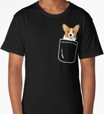 Corgi In Pocket Funny Cute Puppy Big Happy Smile Long T-Shirt