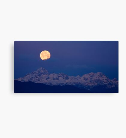 Moonset over the Julian Alps Canvas Print