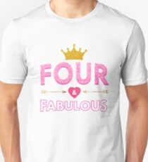 Cute 4th Birthday For Girls Princess Crown Four Gift Unisex T-Shirt